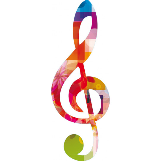 Stickers note de musique multicolore