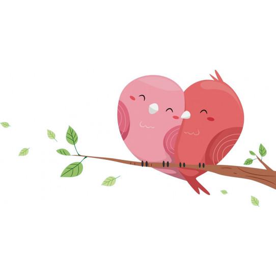 Stickers oiseaux coeur