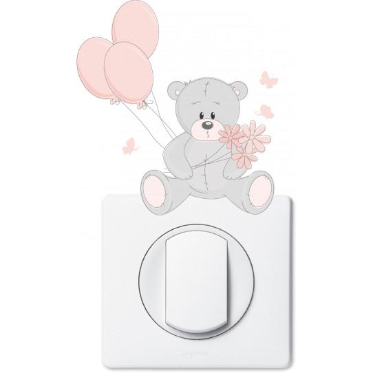 Stickers ourson ballons pour prise et interrupteur
