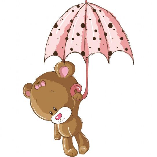 Stickers ourson parapluie