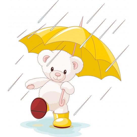 Stickers ourson sous la pluie