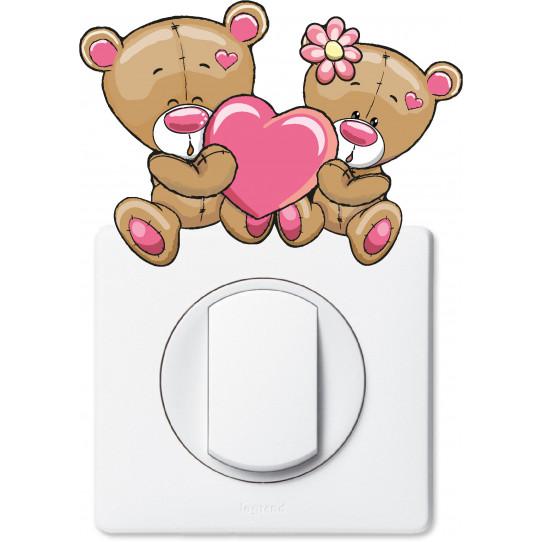 Stickers oursons coeur pour prise et interrupteur