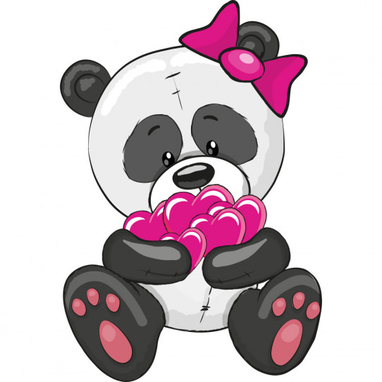 Stickers panda coeurs