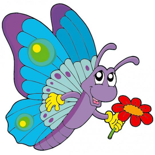 Stickers Papillon Fleur