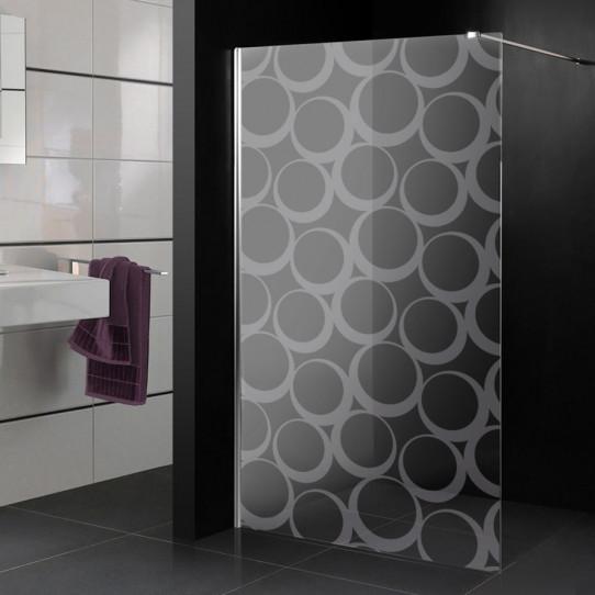 Stickers paroi de douche dépoli cercle design 2