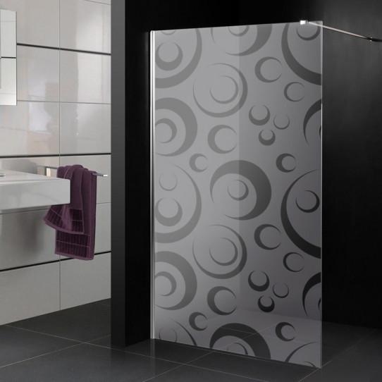 Stickers paroi de douche dépoli cercle design 5