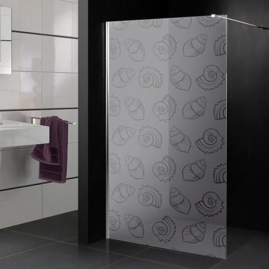 Stickers paroi de douche dépoli coquillages