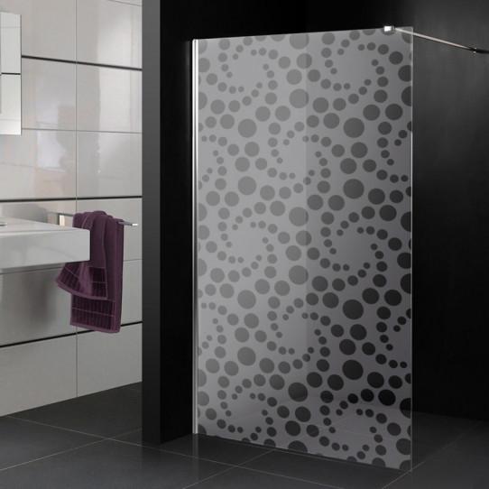 Stickers paroi de douche dépoli ronds virgules