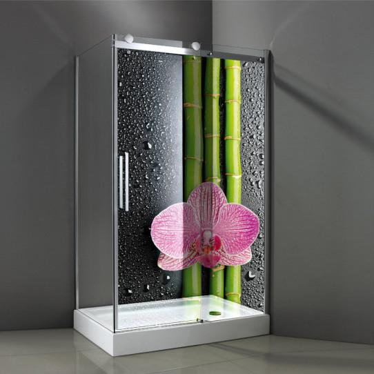 Stickers Paroi de douche semi translucide bambous orchidée