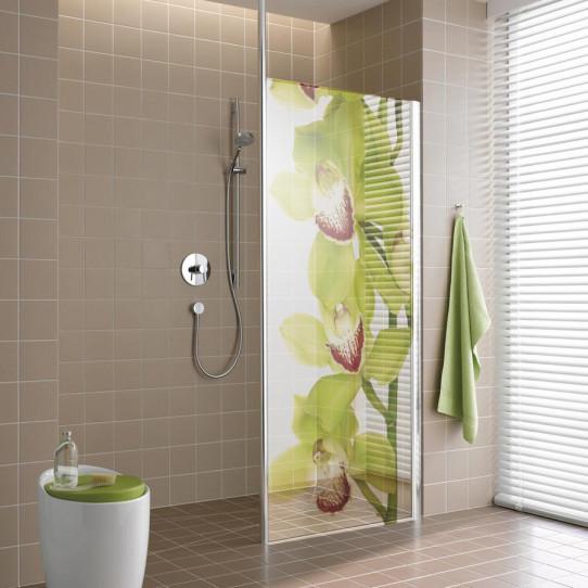 Stickers Paroi de douche semi translucide orchidée verte