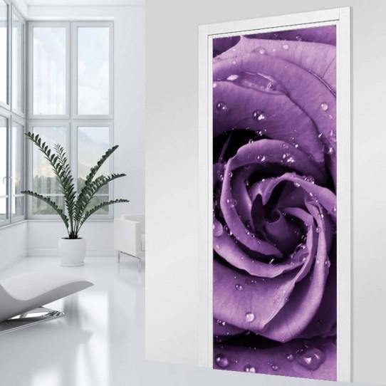 Stickers Porte Fleur violette