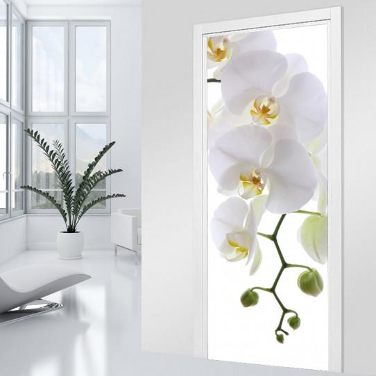 Stickers Porte Orchidée blanche 3