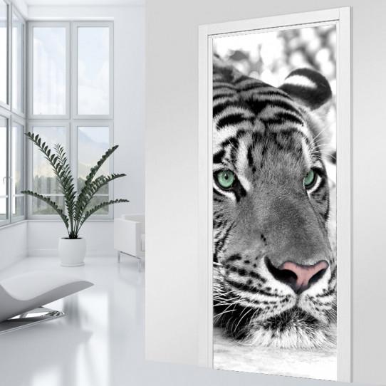 Stickers Porte - Tigre black & white
