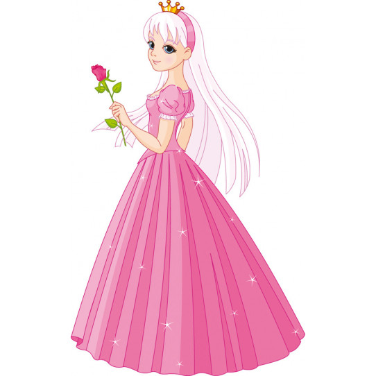 Stickers princesse avec rose
