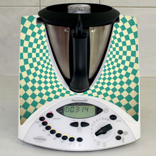 Stickers Thermomix TM 31 Damier turquoise
