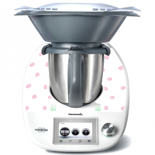 Stickers Thermomix TM 5  Blanc à pois rose