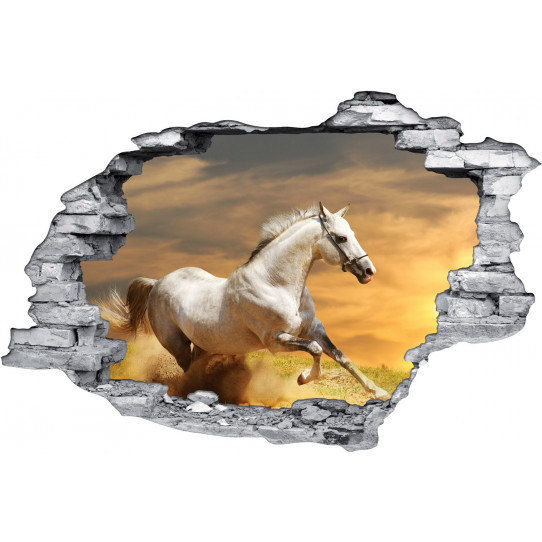 Stickers Trompe l'oeil 3D Cheval