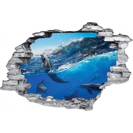 Stickers Trompe l'oeil 3D Dauphins