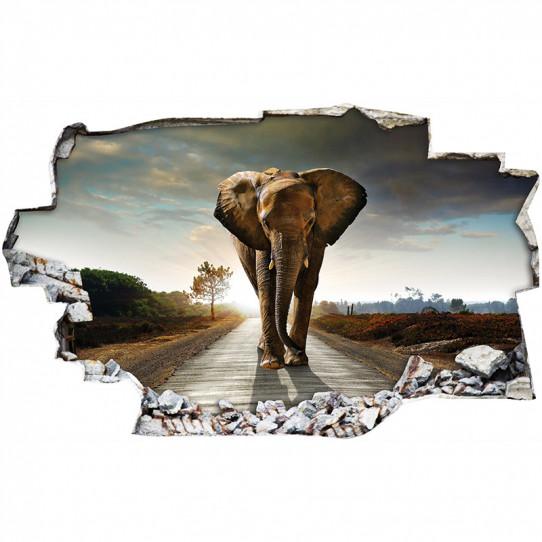 Stickers Trompe l'oeil 3D - Elephant