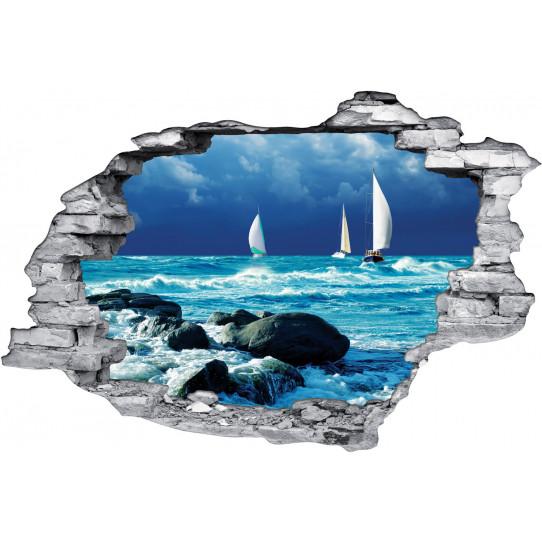 Stickers Trompe l'oeil 3D Mer Bateaux