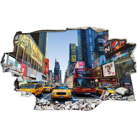 Stickers Trompe l'oeil 3D - New york taxi 2