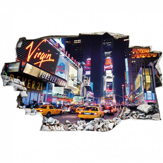 Stickers Trompe l'oeil 3D - New york taxi nuit