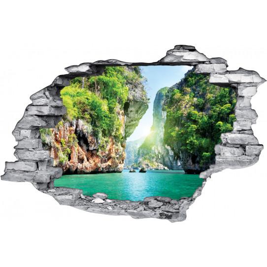 Stickers Trompe l'oeil 3D Paradisiaque