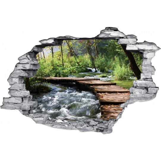 Stickers Trompe l'oeil 3D Pont Rivère