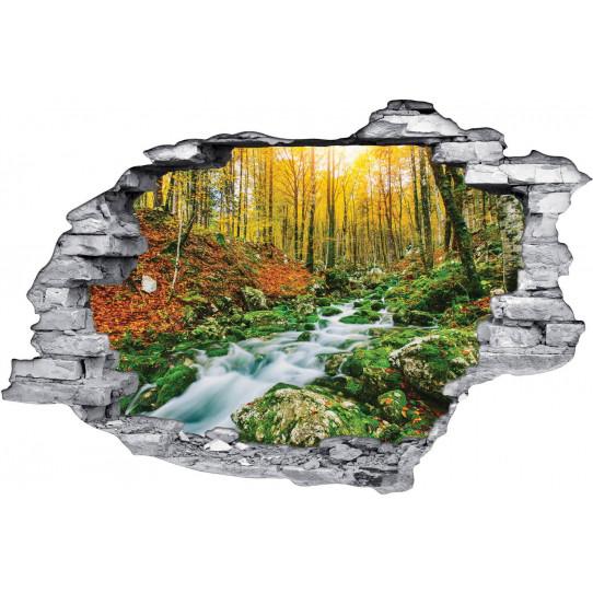 Stickers Trompe l'oeil 3D Ruisseau Forêt