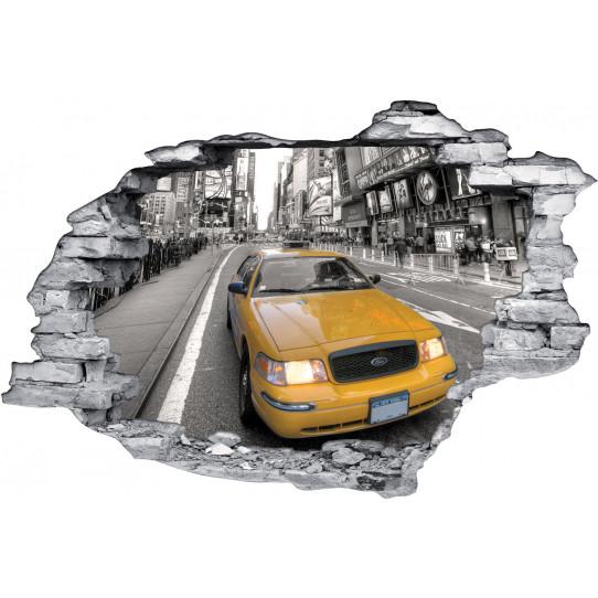 Stickers Trompe l'oeil 3D Taxi