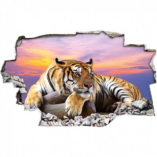 Stickers Trompe l'oeil 3D - Tigre