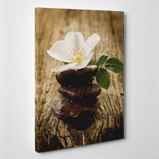 Tableau toile - Fleur Galets
