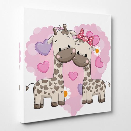 Tableau toile - Girafes Cœurs 2