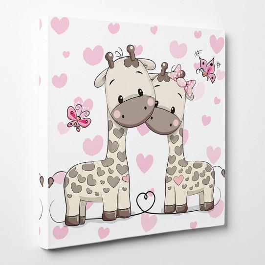 Tableau toile - Girafes Cœurs 3