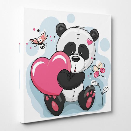 Tableau toile - Panda Cœur