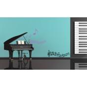 Ensemble 3 stickers musique noir et lavande