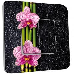 Interrupteur Décoré Double Va et Vient - Bambou orchidée