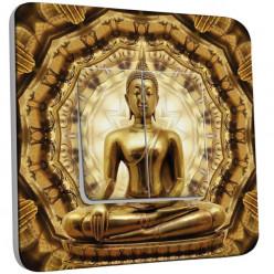 Interrupteur Décoré Double Va et Vient - Bouddha Or 2