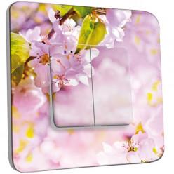 Interrupteur Décoré Double Va et Vient - Fleurs de cerisier