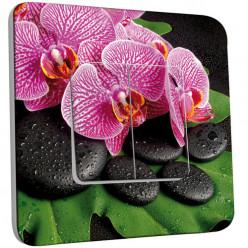 Interrupteur Décoré Double Va et Vient -  Galet Orchidée