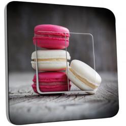 Interrupteur Décoré Double Va et Vient - Macarons Blancs/Fushia