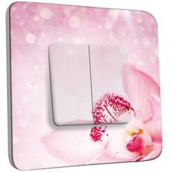Interrupteur Décoré Double Va et Vient - Orchidée rose scintillante