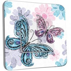 Interrupteur Décoré Double Va et Vient -  Papillon Fleur