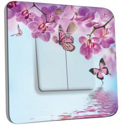 Interrupteur Décoré Double Va et Vient - Papillon Orchidée 2