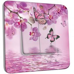 Interrupteur Décoré Double Va et Vient - Papillons Orchidées 10