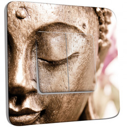 Interrupteur Décoré Double Va et Vient - Tête de Bouddha Zoom Or