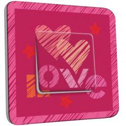 Interrupteur Décoré Simple Va et Vient - Coeur Love