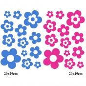 Kit 26 Stickers Fleur Bleu clair et Fushia