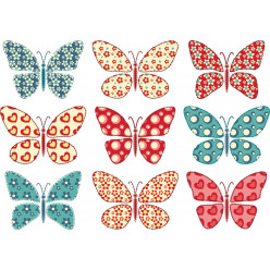 Kit stickers 9 papillons