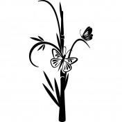 Sticker Fleur papillon noir 57x109 cm